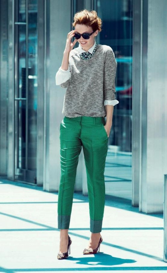 My classic work look... Ankle length pant & crisp shirt with pop colors. Love the green!!!