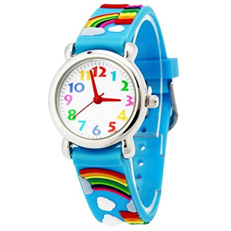 Happy Cherry Kinder Jungen Mädchen Analog Quarz Armbanduhr - Blau Armband Cartoon Regenbogen Pattern