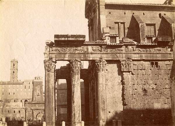 1852 circa Caneva Giacomo . Tempio di Antonino e Faustina.
