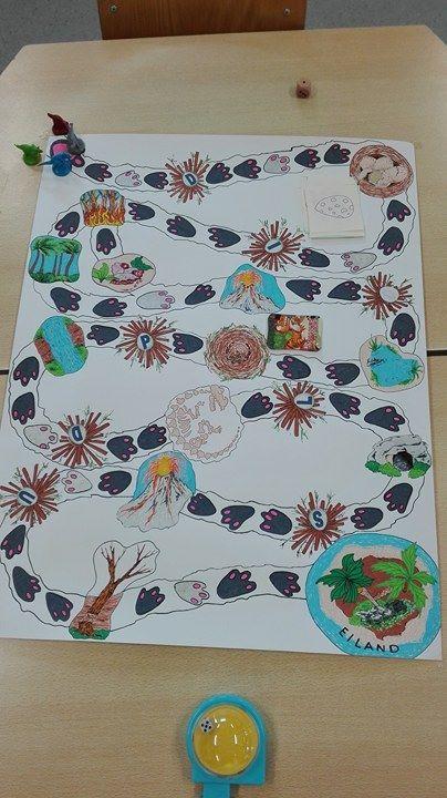 Dinospel; probeer als eerste aan te komen op het dino eiland maar pas op voor een bosbrand, een vulkaan of omgevallen bomen, enz. (Kan ook in thema draken gebruikt worden!) De pionnen en kaartjes in het midden zijn van een bestaand spel.