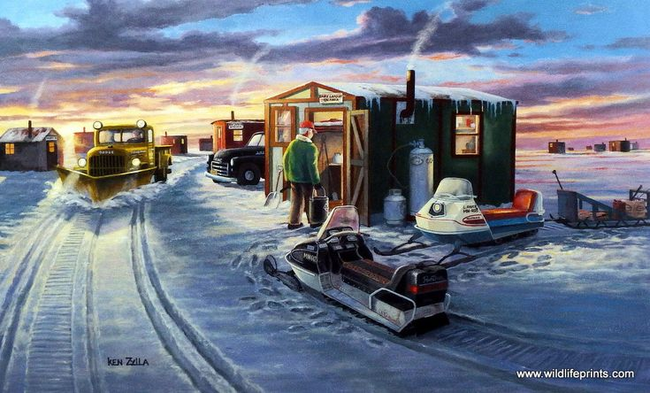 This is a very popular ice fishing print with lots of vintage snowmobiles sharing the lake with old trucks and ice houses.