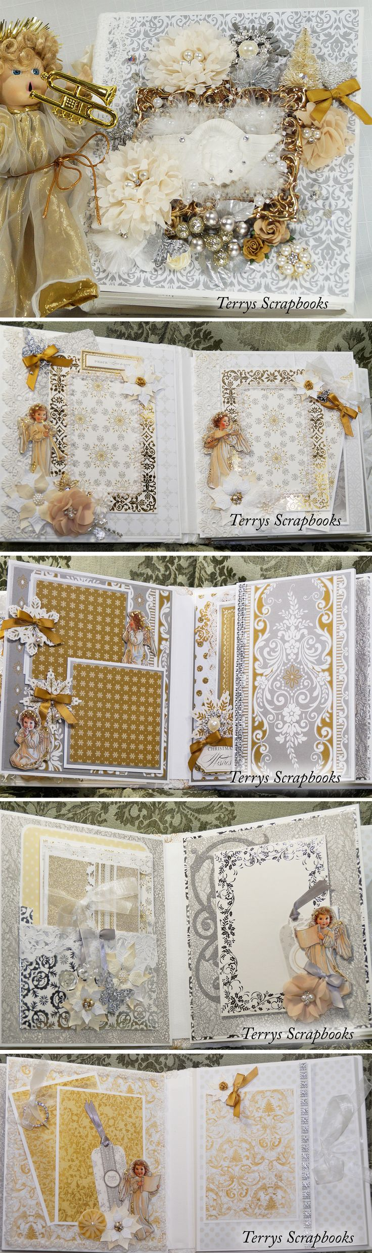 Silver and Gold Christmas Mini Album by Terry's Scrapbooks. Watch a walk through on you tube... https://www.youtube.com/watch?v=RtAhgVxtmlA