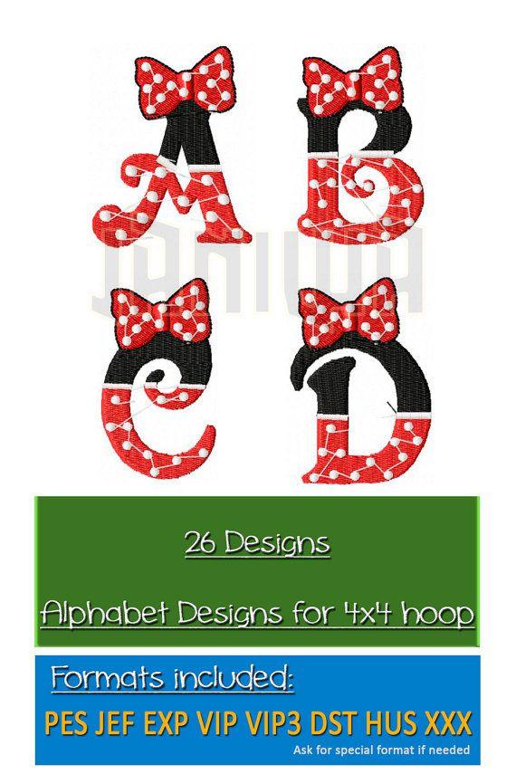 Minnie Mouse Fuentes Máquina del bordado del monograma del alfabeto - Llenar la puntada Feliz cumpleaños