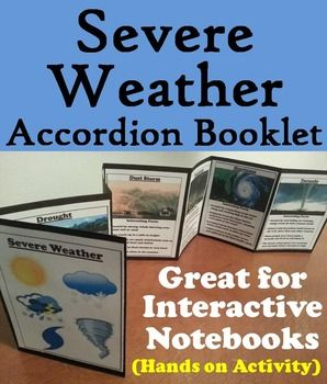 Severe Weather Accordion Booklet: this severe weather booklet is a fun hands on activity for students to use in their interactive notebooks. Students may research different facts about severe weather and write what they find on the provided blank lines.