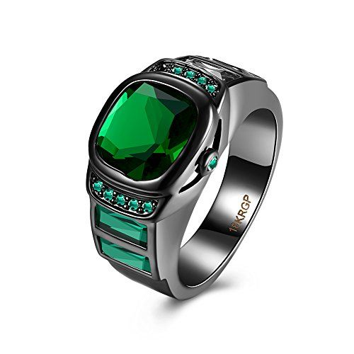 * Penny Deals * - 18K Black Gold Plated 2.5 Carat Large 3 Colour Crystal In Center Watch Ring (Green, 8) ** Want additional info? Click on the image.
