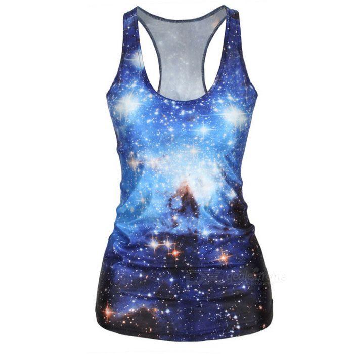 Women's Sexy Starry Sky Printing Spandex Vest Top - Blue