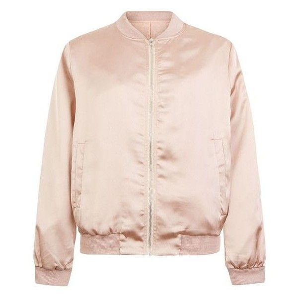 Cameo Rose Shell Pink Satin Bomber Jacket ❤ liked on Polyvore featuring outerwear, jackets, flight jacket, pink bomber jacket, satin jackets, blouson jacket and satin bomber jacket