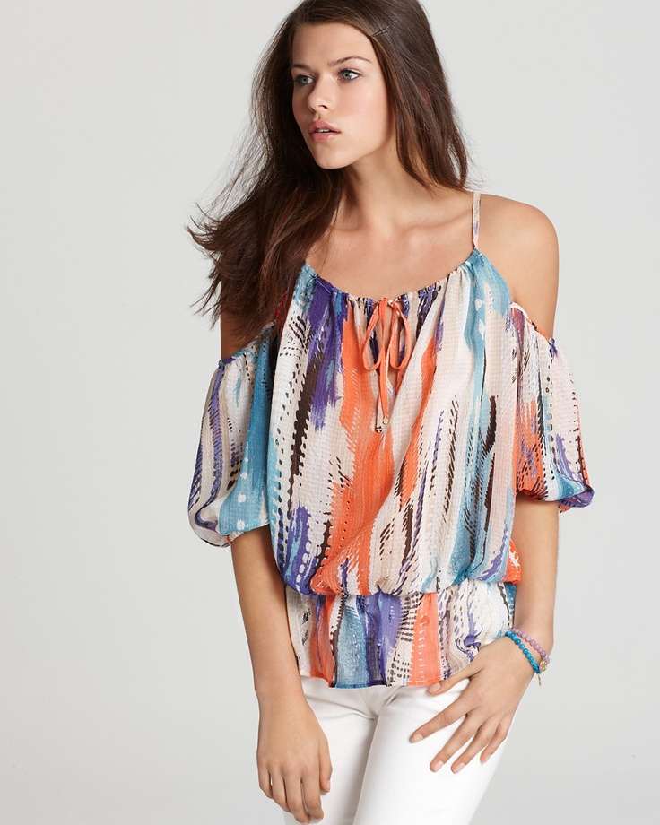GUESS Top - Katie Cold Shoulder Printed | Bloomingdale's: Shoulder Prints, Katy Cold, Cold Shoulder