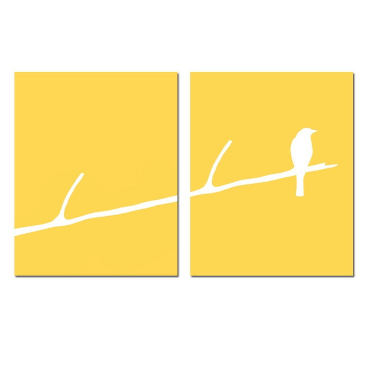 Bird on a Twig Set of Two 8 x 10 Prints in Yellow by Tessyla