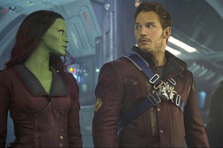 Chris Pratt and Zoe Saldana in Guardians of the Galaxy (2014)