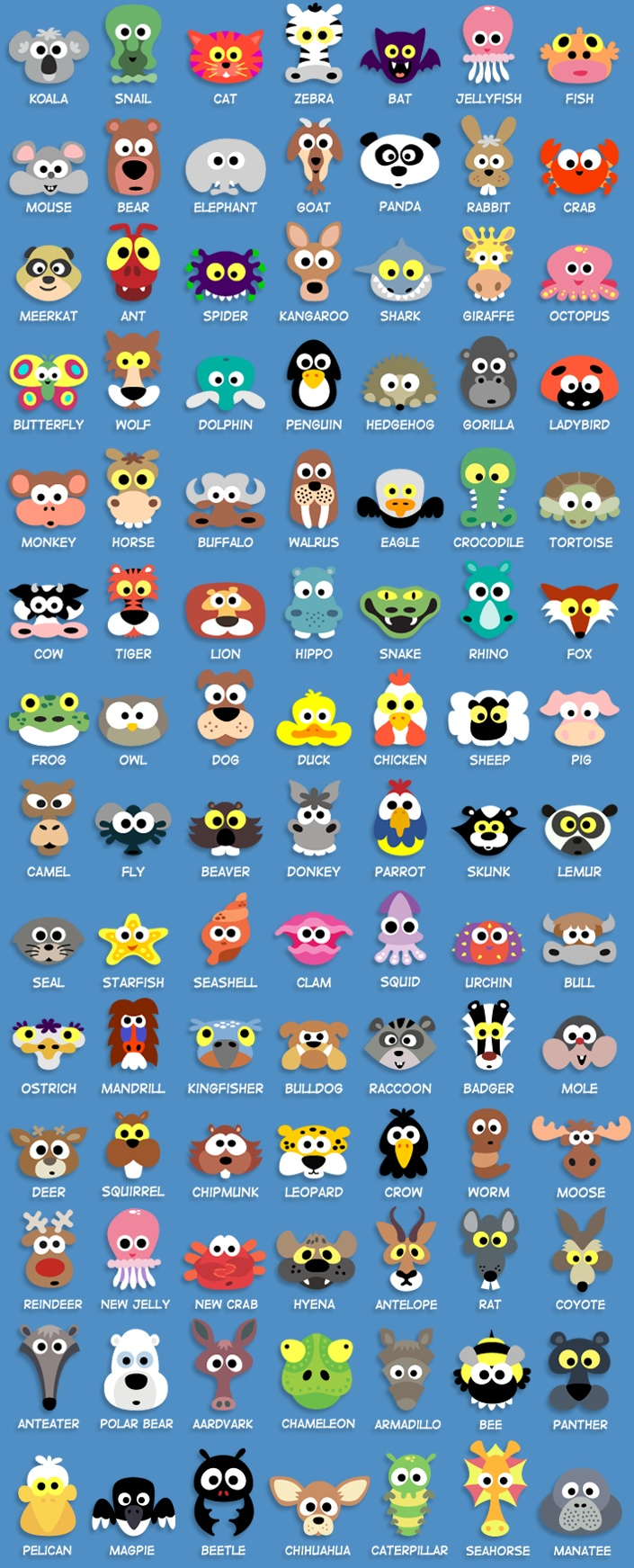 All the animal masks so far