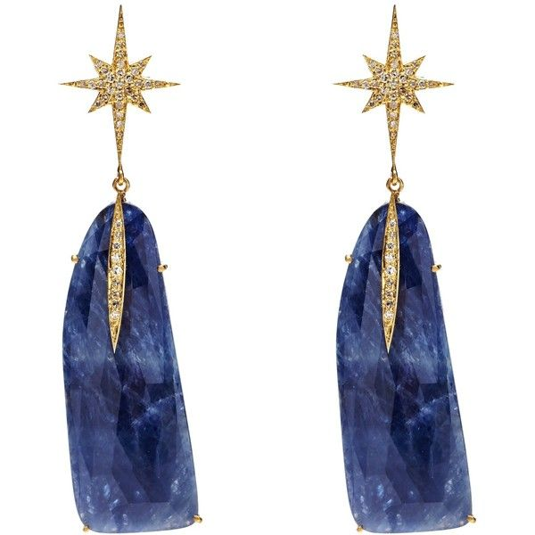 NUSH - Starburst Blue Sapphire Drop Earrings ($1,045) ❤ liked on Polyvore featuring jewelry and earrings