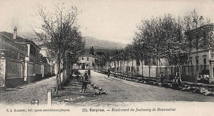 A pre 1922 postcard view of Bournabat, published by the Levantine Dermond family, the road near the former railway station.