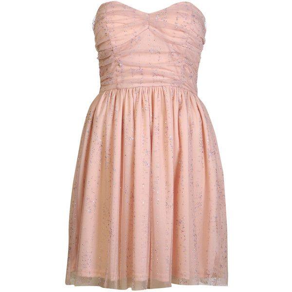 Nude Sparkle Mesh Dress ($105) ❤ liked on Polyvore