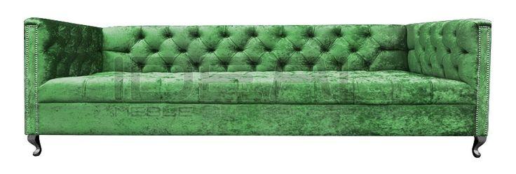 Chesterfield - Sofa Chesterfield London Ludwik - IdealMeble sofa chesterfield, zielona sofa, styl angielski, green