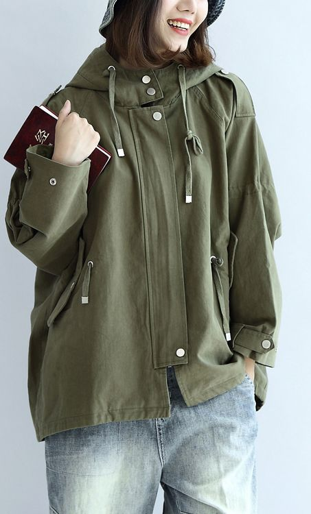 Tea-green-oversized-trench-coats-plus-size-short-hoodies-outwear