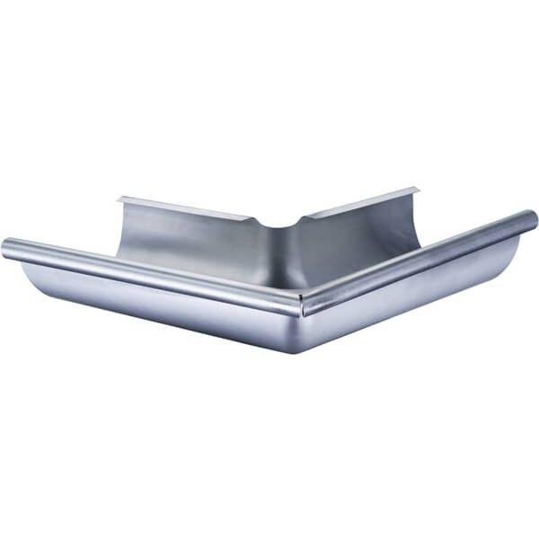 Dieses Dachrinnen Set enthält vier 90° Eckstücke. Jedes Eckstück wird mittels eines Rinnenverbinders an einem Dachrinnenteil festgeklemmt. Löten ist nicht notwendig!