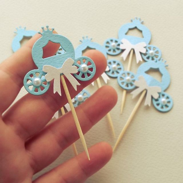 Handmade Party Supplies Cinderella Carriage Blue table decorations