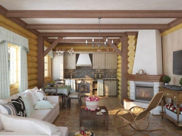 гостинная в деревянном доме - Поиск в Google