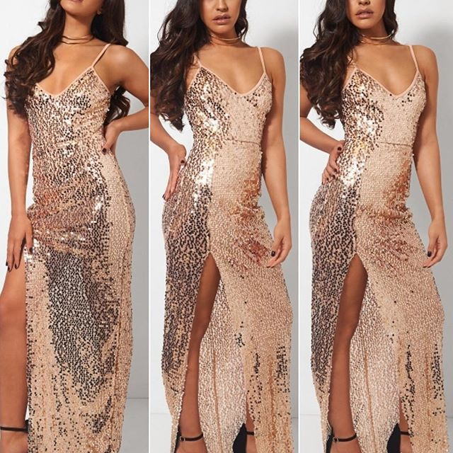 Meissa Gold Sequin Split Maxi Dress