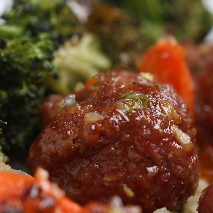 Orange-Glazed Meatballs And Veggies