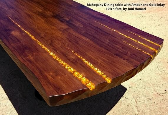 Mahogany Dining Or Conference Table With Amber And Gold Inlay By Joni Hamari Solid Mahogany Plank Top 10 Feet Long Conference Table Wood Slab Live Edge Wood
