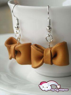 Collezione Profumo di neve - Orecchini Gold Sparkling Bow #xmas #kawaii #cute #sweet #handmade #jewels