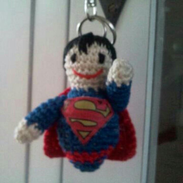Crochet superman keyring