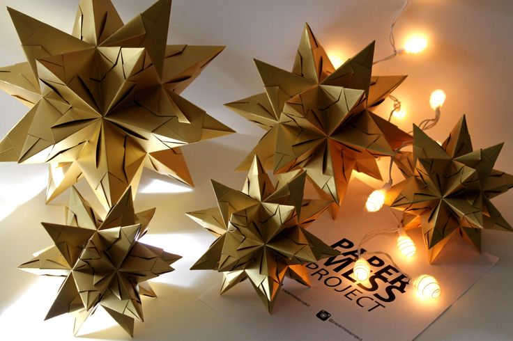 bascetta star, gold, origami, optimus, paper mess project