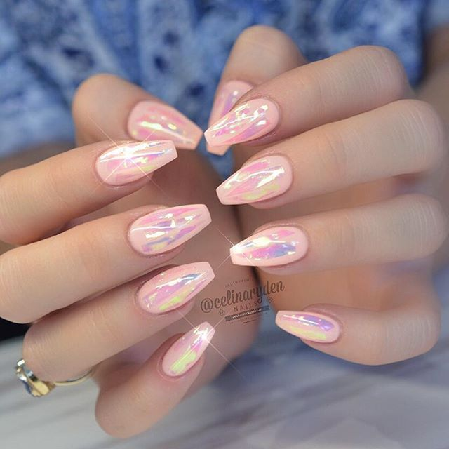 Pastel Coral Ballerina Nails With Holographic Accents