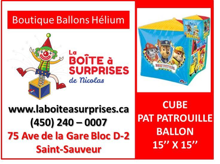Ballon Cube de la Pat Patrouille #patpatrouille dans la Boutique de St-Sauveur #stsauveur Hélium 450-240-0007 info@laboiteasurprises.ca