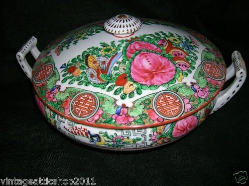 Asian Chinese Famile Rose Medallion Hand Painted Soup Casserole Tureen with Lid