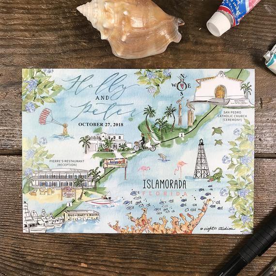Custom Wedding Maps Personalized Wedding Maps Watercolor Wedding