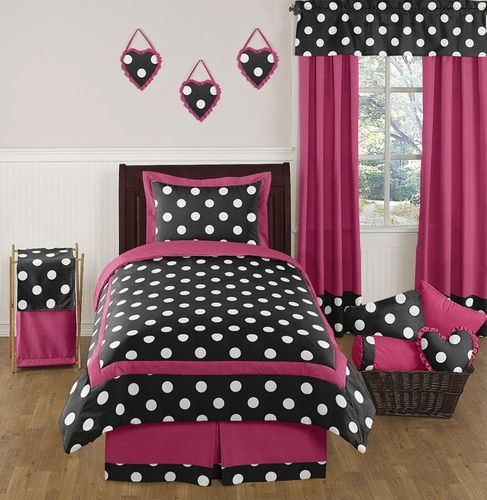 hot pink black and white polka dot childrens and teen bedding set by