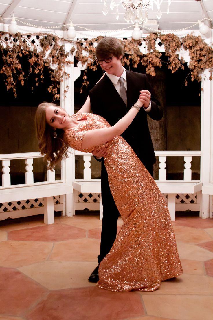 Gold Sequin Modest Prom Dress