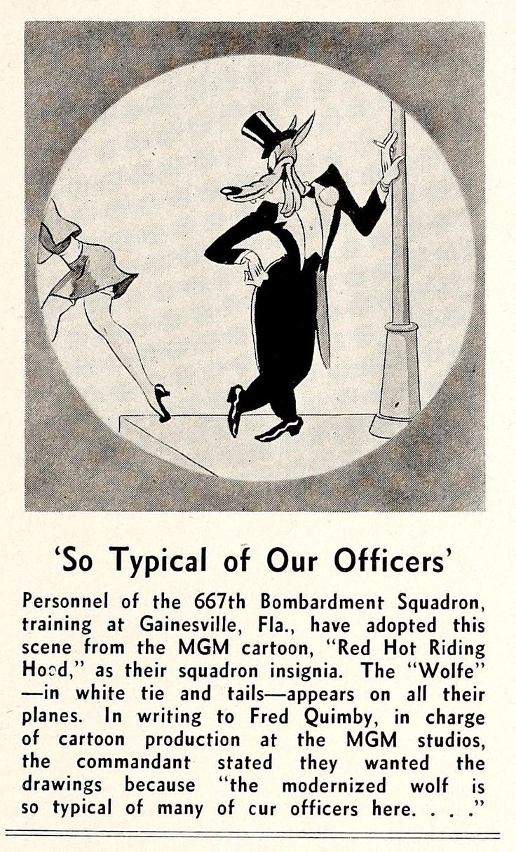"""BOMBARDIERS ADOPT TEX AVERY'S """"WOLFE"""" AS SQUADRON MASCOT. """"Showmen's Trade Review,"""" 1-1-44."""