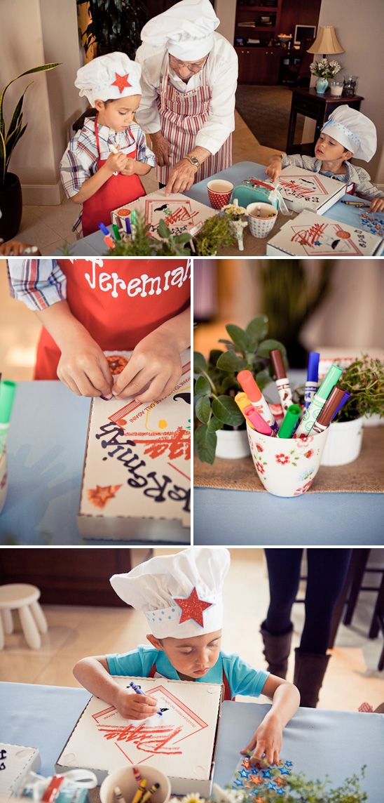 This is cute, they could decorate their own box, or even better, get paint markers and stuff to decorate the aprons as an activity