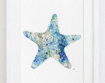Estrella de mar azul Acuarela Original pintura Tropical náutica Ocean Marine Art Aqua aguamarina