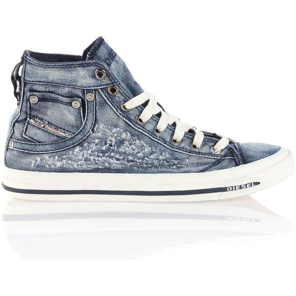 Diesel EXPOSURE IV W Casual Shoes (545 QAR) ❤ liked on Polyvore featuring shoes, sneakers, blue jeans, casual shoes, women, blue high tops, lacing sneakers, laced shoes, hi tops and diesel trainers