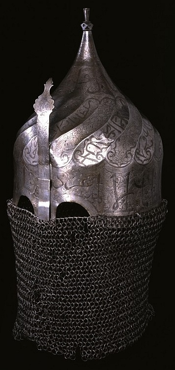 Persian or Ottoman 16th century turban helmet, steel with inlaid silver.	 Original intact camail/aventail ( (mail curtain protecting the neck and shoulders). Turban helmets are named for their large turban like form, they seem to originate from the 14th century with most surviving examples dating from the 15th to 16th century. The Walters Art Museum, Baltimore, MD