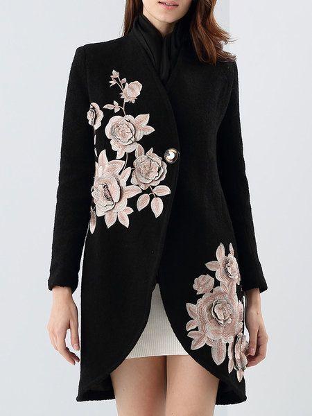 Shop Coats - Elegant Long Sleeve Floral-embroidered Coat online. Discover unique designers fashion at StyleWe.com.