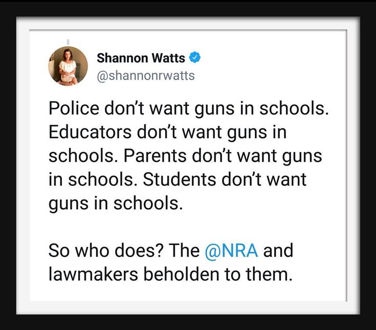 """Asking """"who benefits from this"""" is always a good lens of analysis. For example, no one benefits from school shooters (or armed teachers) but the NRA and the politicians they pay"""