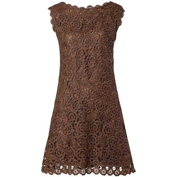 Preowned 1960s Brown Scalloped Hand Crochet Raffia Lace Shift Dress ($550) ❤ liked on Polyvore featuring dresses, vestidos, brown, short dresses, pre owned dresses, scalloped lace dress, scallop hem dress, lace dress and lacy dress