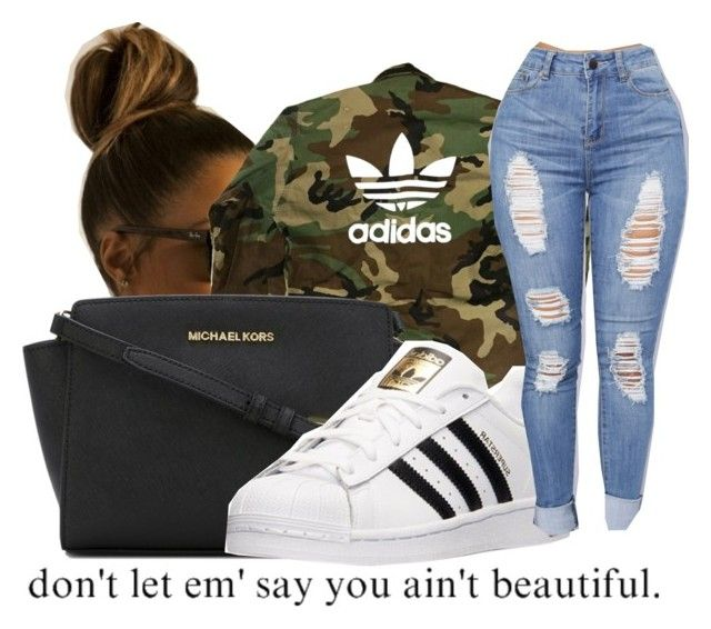 """"""""""" by caylaalsina ❤ liked on Polyvore featuring adidas and MICHAEL Michael Kors"""