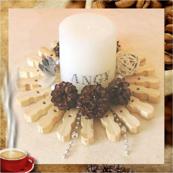 Bougies support en recup,  pince à linge en bois et petites pommes de pins