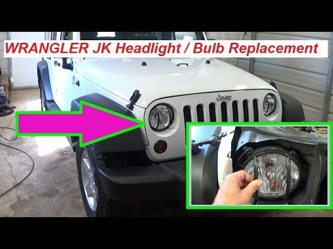 Jeep Wrangler JK Headlight Replacement, Headlight bulb replacement - YouTube