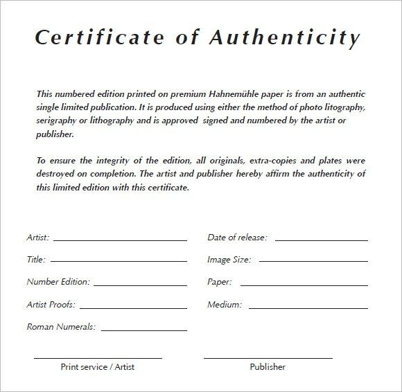 Looking For Certificate Of Authenticity Template Wetcanvas