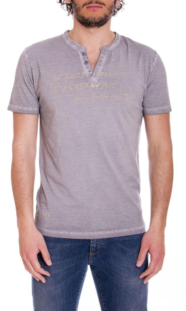 Trussardi Jeans | T-Shirt Trussardi Jeans Uomo Serafino Regular Fit Col. Tortora - Shop Online su Dursoboutique.com 52T147