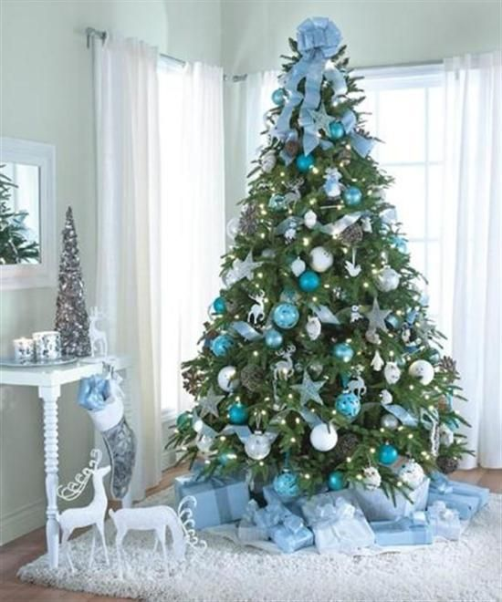 blue and silver decorated christmas trees
