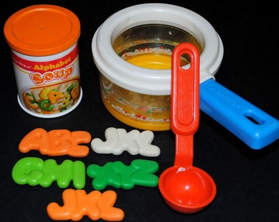 Fisher Price Fun with Food: Alphabet Soup... oh my goodness!!! I totally forgot about this, but looking at it brings a rush of memories back to living in our little apartment in Ridgewood, NY